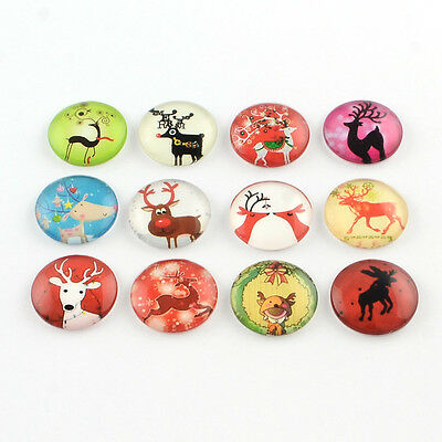 10 Reindeer Mixed Round Glass Cabochons Flat Back Jewellery Making 12mm (058)