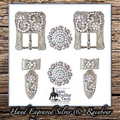 Hand Engraved German Silver & Aqua Crystal Buckle Set For Western Headstall