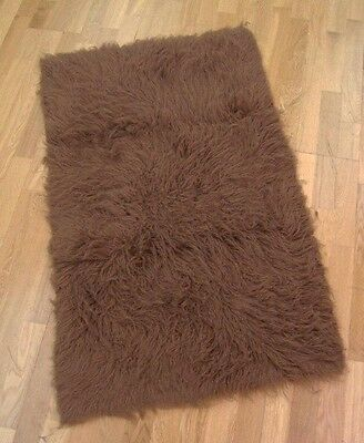 Genuine 100% Wool Flokati Rug - Milk Choc Brown 60x120cm