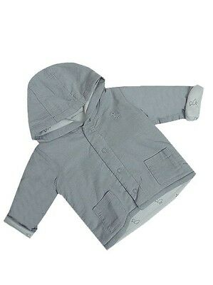 "Baby Boys ""ex M&s"" Grey Stud Fasten Twin Pocket Hooded Lightly Padded Jacket"
