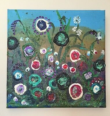 'Dusk In The Meadow' Abstract Original Painting By Cornish Artist Jayne Webber