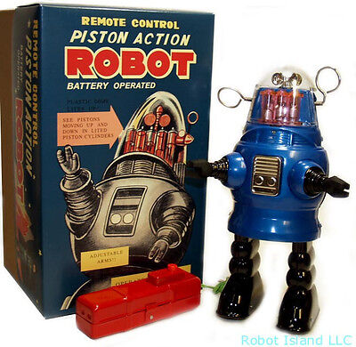 Piston Action Robby the Robot Tin Toy Battery Operated Limited Edition Blue!