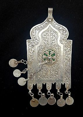 Morocco - Talisman Amulet called LOUHA or MOSQUE DOOR in silver with a door knoc