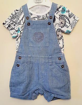 "Baby Boys ""ex M&s"" 2 Piece Short Sleeve Bodysuit And Dungaree Set - Outfit Set"