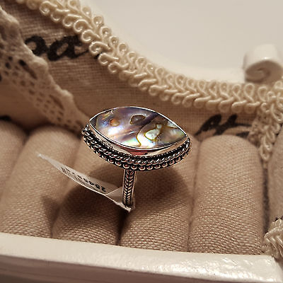 Beautiful Abalone Shell ring in Hand crafted sterling silver  'N'
