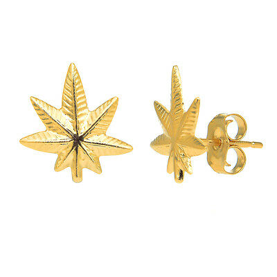 14K Solid Yellow Gold Weed Pot Marijuana Leaf Earrings Small