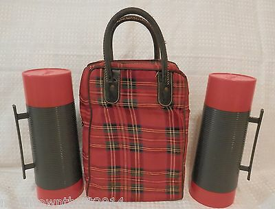 Lot of 2 Vintage Aladdin Dura-Clad Quart Vacuum Thermos Bottles #2650 w/ Bag