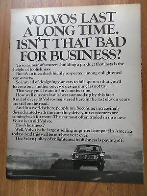 1970 Volvo Ad Last a Long Time Isn't that Bad for Business?
