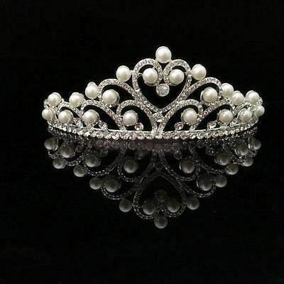 Wedding Prom Bridal Crown Rhinestone Crystal Pearl Heart Sexy Head Tiara