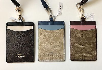 Coach Color Block Logo Signature Lanyard ID and Badge Holder 57964 NEW