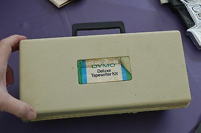 Vintage Dymo Deluxe Tapewriter kit two interchangeale embossing wheels