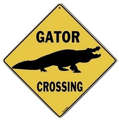 """GATOR SILHOUETTE Aluminum Crossing Sign, 12"""" on sides, 16"""" on diagonal"""