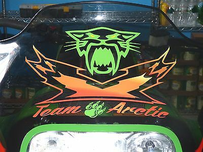 Custom Team Arctic Cat Snowmobile Windshield Sticker Decal Zr Zl Z Snow  Bearcat