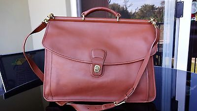 COACH Beekman Briefcase, Vtg Glove Tanned Leather Brown EXCELLENT CONDTION