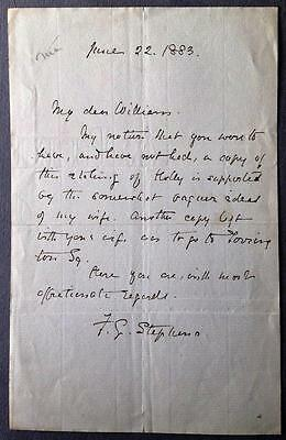 Frederic George Stephens, Artist Critic Pre-Raphaelites, ALS, SIGNED letter 1883