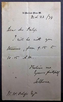 Roundell Palmer, 1st Earl of Selborne, Lord Chancellor, ALS, SIGNED letter, 1874