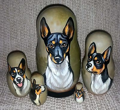 Rat Terrier on Five Russian Nesting Dolls. Dogs. #22
