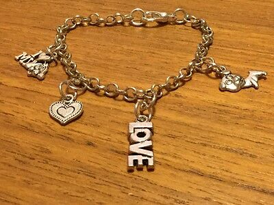 Gorgeous Puppy Mixed Breed Metal Alloy Chain Bracelet with Puppy Metal Charm