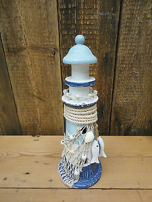Wooden Lighthouse Ornament Seaside Decorative Shells Fish Shabby Chic  D1