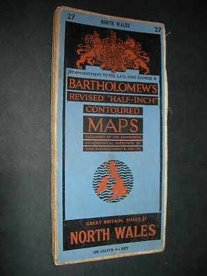 BARTHOLOMEW'S Oct 1950 Revised HALF INCH CLOTH CONTOURED MAP NORTH WALES No.27