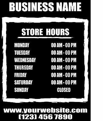 2 Color Custom Business Store Hours Sign Vinyl Decal Sticker 18x20