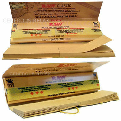 Raw Classic Connoisseur King Size Slim Rolling Papers + Filter (Include Tips)
