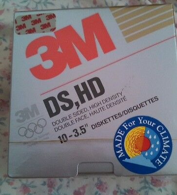 """3M DS HD 3.5"""" diskettes pack of 10 1.44mb. Factory sealed. Free postage USA"""