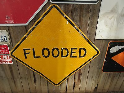 """vtg Authentic Highway Street Road Aluminum Road Sign FLOODED 30"""""""
