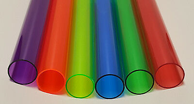"6 COLORS 1 1/4"" OD x 1 1/8"" ID CLEAR ACRYLIC TUBE RED GREEN BLUE ORANGE PURPLE"