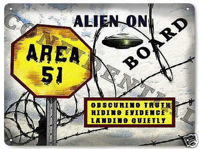 Area 51 METAL Street sign conspiracy funny UFO aliens space ship wall decor 377