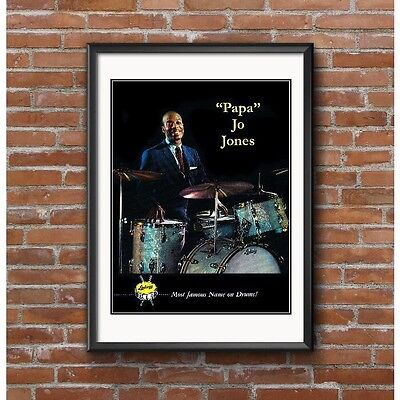 Papa Jo Jones Tribute Poster - Jazz Drummer for Count Basie Orchestra Ludwig