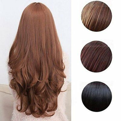 Women Long Curly Wavy Full Wig Heat Resistant Hair Cosplay Party Lolita PopulCQ