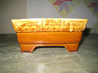 Brush McCoy Brown Dipped Four Footed Square Planter - MINT condition!!
