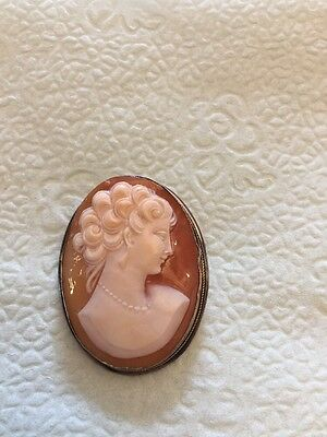 Antique Cameo 800 Silver All Handmade Brooch Pendant Pin Neoclassical Shell