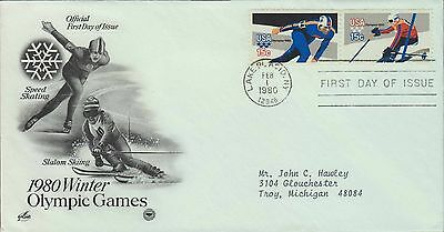 1980 - Fdc - 1980 Winter Olympic Games - Speed Skating / Slalom Skiing