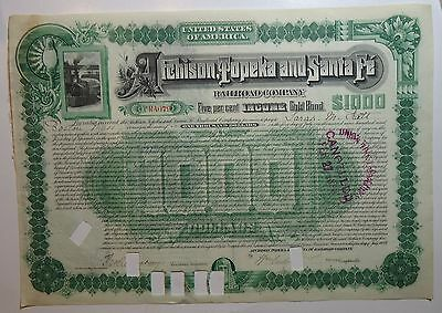 Santa Fe Railway 1889    $1000 Certificate  issued & cancelled   -  stock