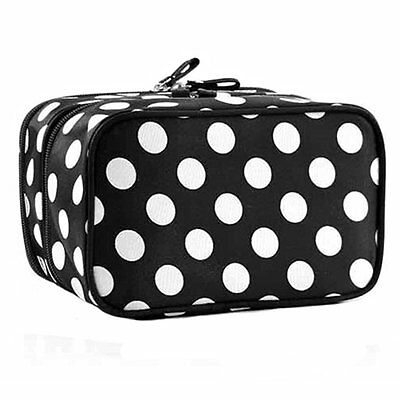 Generic Fashion Cute Lady's Dot Pattern Makeup Case Double Layer Cosmetic Hand B