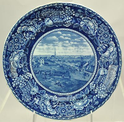 Adams Blue Staffordshire Retreat of the British from Concord Plate 1890s