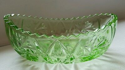 SOWERBY GREEN Pressed Green Glass patterned dish bowl, HOBSTAR 2480 vintage vgc
