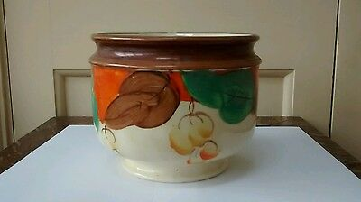 Art Deco Myott Pottery hand painted jardinière with leaves and berries