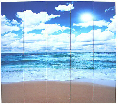 5 Panels Room Divider Screen - Beach Theme - New  #PICKUP    (SC5-95)