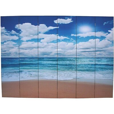 6 Panels Room Divider Screen - Beach Theme - New  # Pick Up (SC6-95)