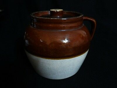Atq BLUE CROWN 3QT STONEWARE BEAN CROCK WITH HANDLE & LID - Made in USA