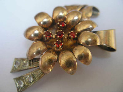 Great Art Deco  1930/40 900 Silver, 18 K Gold Plated Dress Clip
