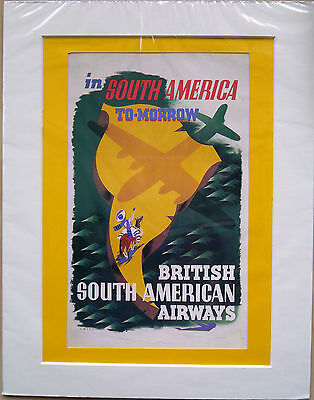 """In South America tomorrow 1946: Mounted poster 14"""" x 11"""": Vintage airline advert"""
