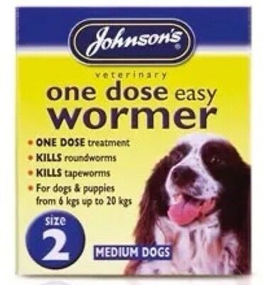 Johnsons One Dose Wormer For Medium Dogs X 2 Boxes