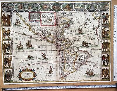 Antique vintage Colour Blaeu Map of the New World, America, 1600's: REPRINT