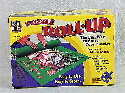 """MasterPieces Puzzle Roll-Up 36"""" X 30"""" Mat Straps Telescoping Tube 1000 Pcs NEW"""