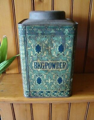 Rare Victorian Store Counter Lithographed Baking Powder Tin by Ginna & Co. NY