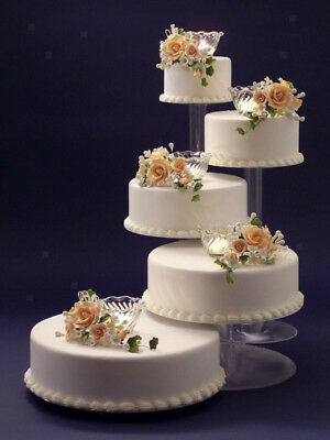 5 Tier Cascade Cake Stand Clear Acrylic Cupcake Wedding Bday Party Displays